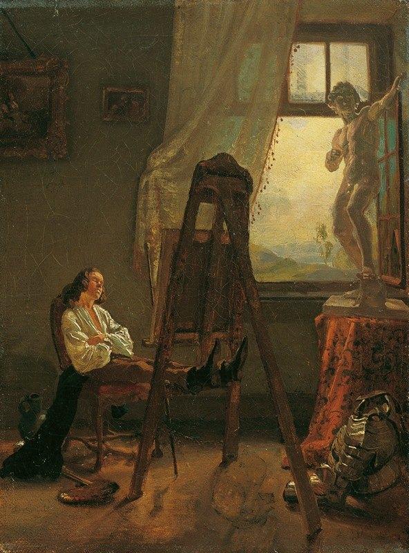 Josef Danhauser - Der eingeschlafene Maler im Atelier
