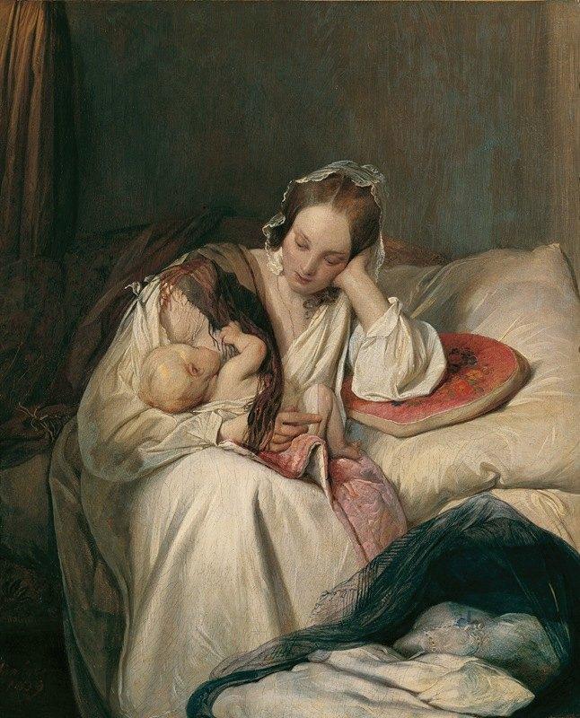 Josef Danhauser - Mutterliebe (Die Gattin des Künstlers mit Kind)