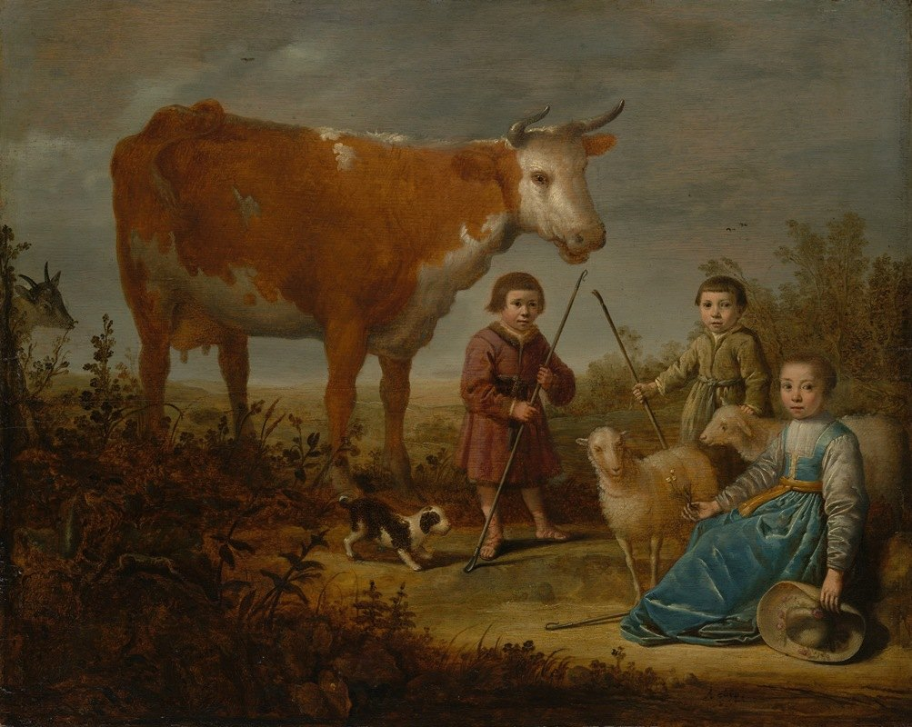Aelbert Cuyp - Children and a Cow