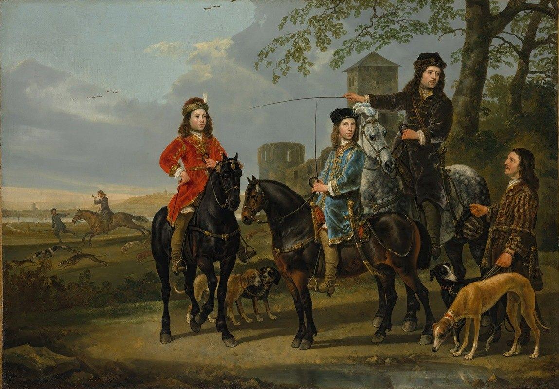 Aelbert Cuyp - Equestrian Portrait of Cornelis (1639–1680) and Michiel Pompe van Meerdervoort (1638–1653) with Their Tutor and Coachman