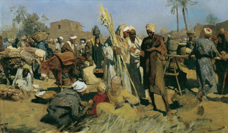 Leopold Carl Müller - Zuckerrohrmarkt Markt in Oberägypten