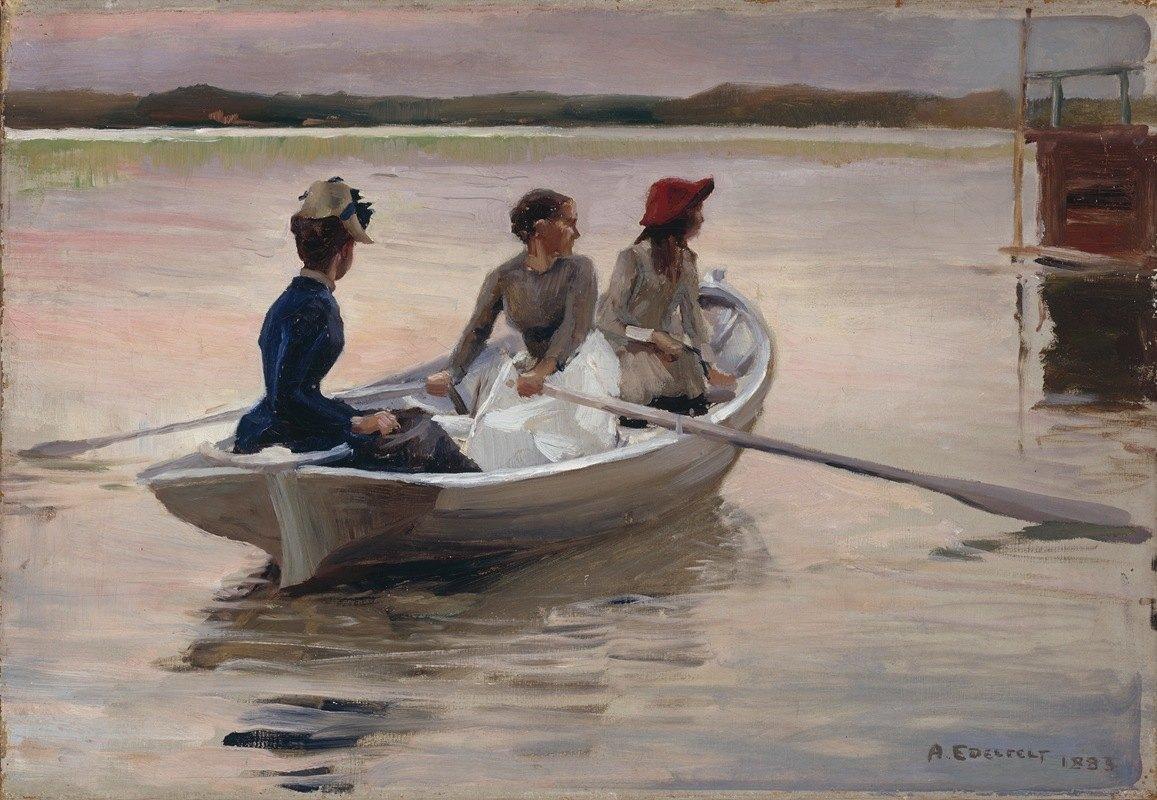 Albert Edelfelt - Girls in a Rowing Boat (Summer in the Archipelago)