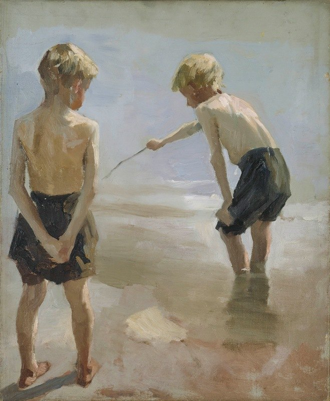 Albert Edelfelt - Study for the Boys Playing on the Shore