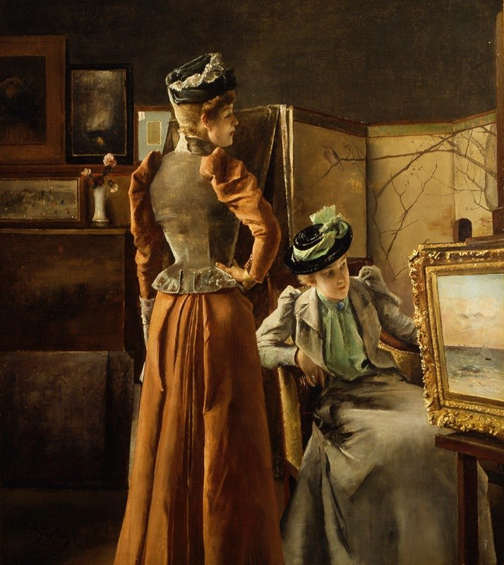 Alfred Stevens - Looking at a Painting
