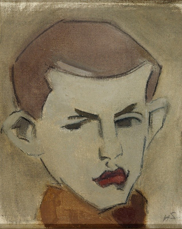 Helene Schjerfbeck - The Woodcutter, head study
