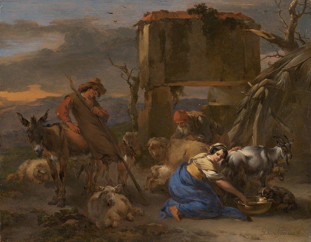 Nicolaes Pietersz. Berchem - Pastoral Scene with a Shepherdess Milking a Goat
