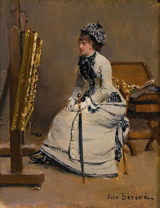 Jean Béraud - Femme Assise Devant Un Tableau