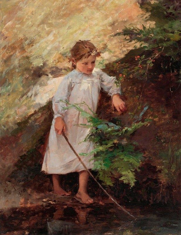 Kazimierz Alchimowicz - Girl in a landscape