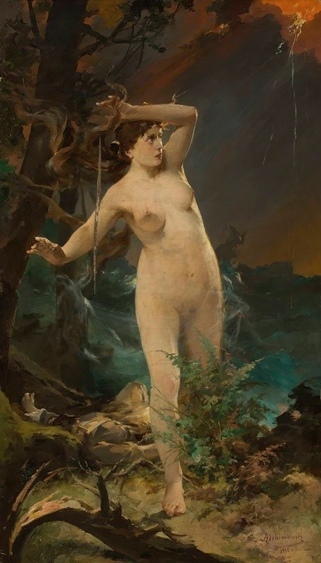 Kazimierz Alchimowicz - Milda – female nude against the landscape of rough sea