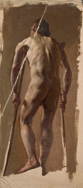 Kazimierz Alchimowicz - Nude of an old man leaning on crutches, back view