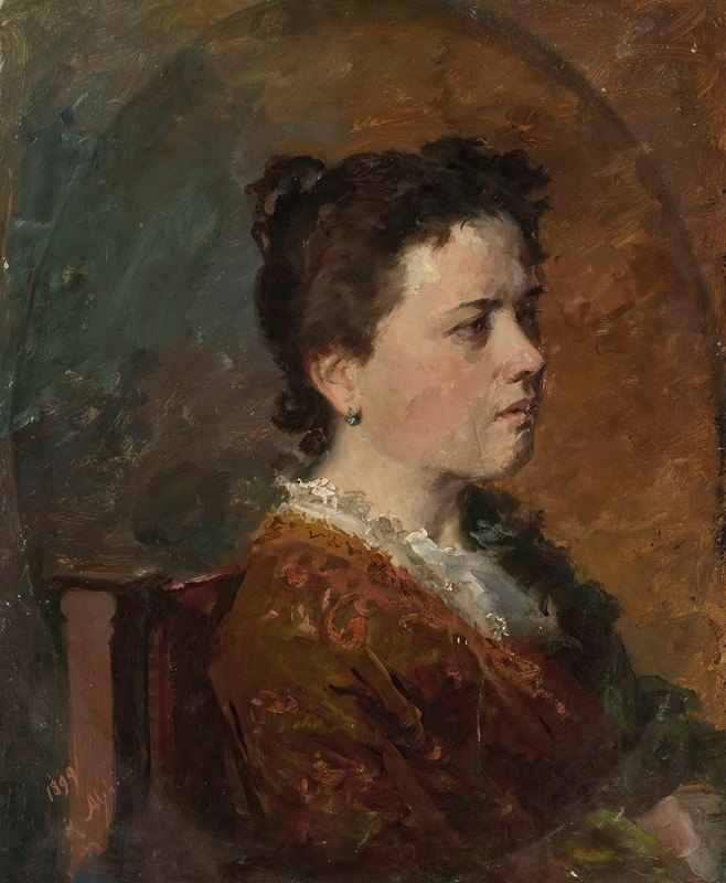 Kazimierz Alchimowicz - Portrait of a young woman, study