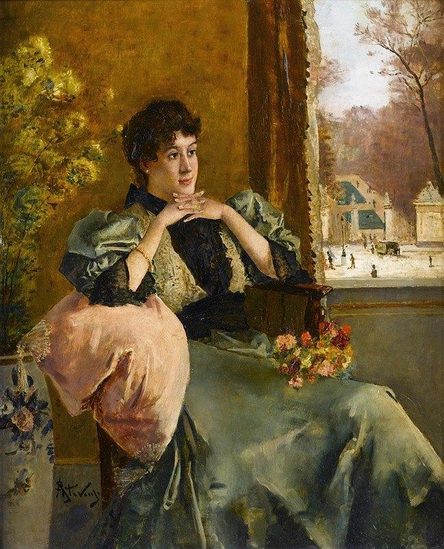 Alfred Stevens - Femme pensive près d'une fenêtre
