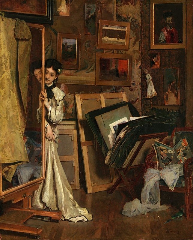 Alfred Stevens - The Psyché (My Studio)