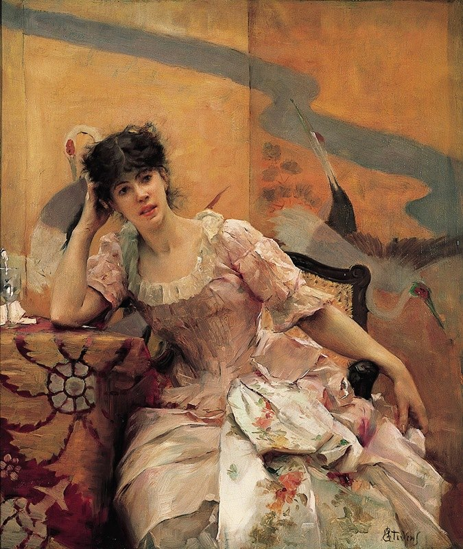 Alfred Stevens - Young Woman with a Japanese Screen