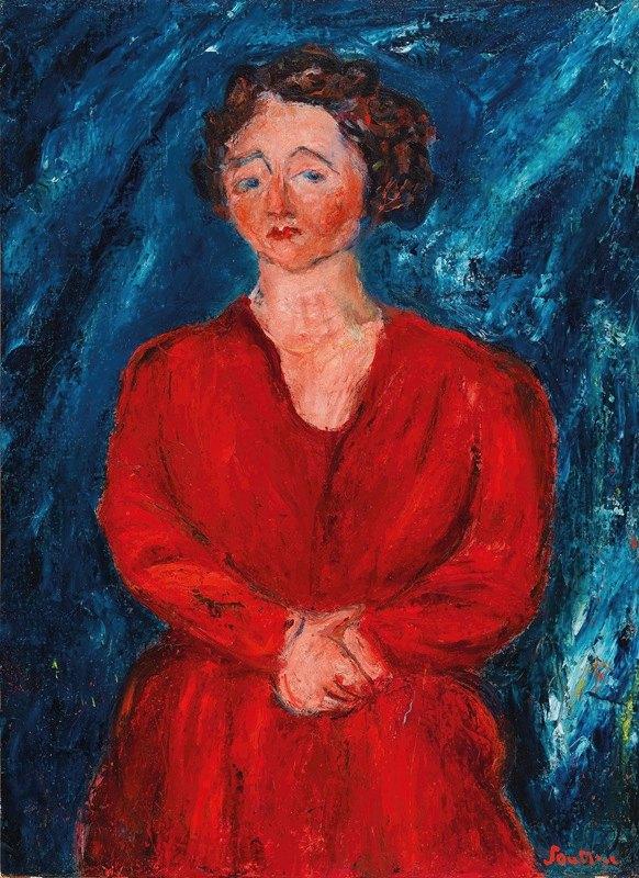 Chaïm Soutine - La Femme en rouge au fond bleu