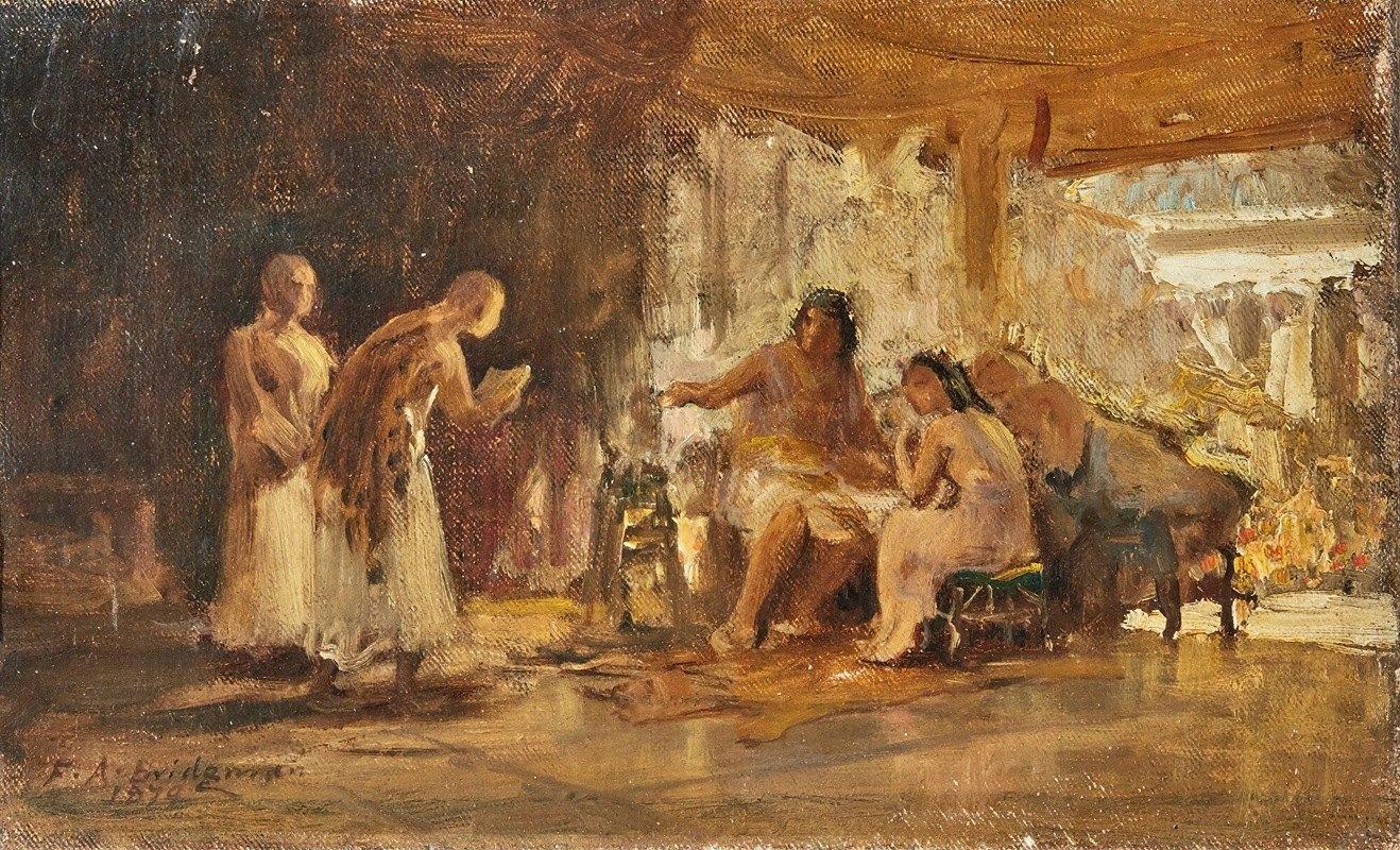 Frederick Arthur Bridgman - Study Of A Group In An Interior