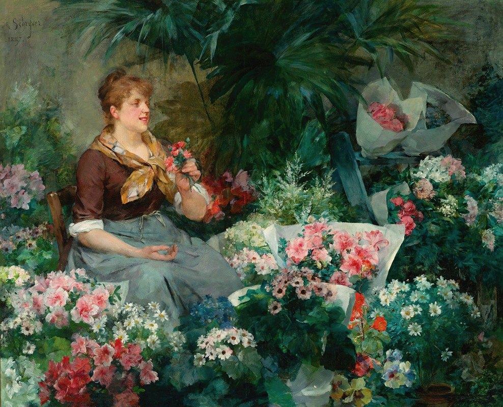 Louis Marie De Schryver - The Flower Seller