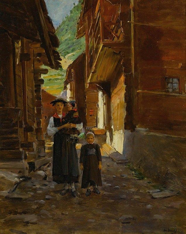 Jean Béraud - Jeune Femme Et Enfants Dans Un Paysage De Montagne