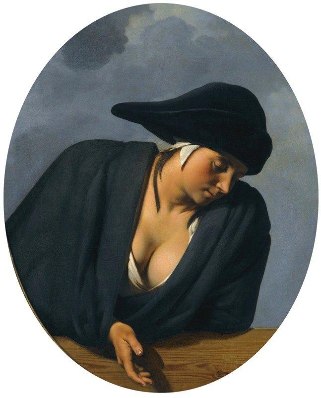Caesar Van Everdingen - A Peasant Woman Wearing A Black Hat, Leaning On A Wooden Ledge