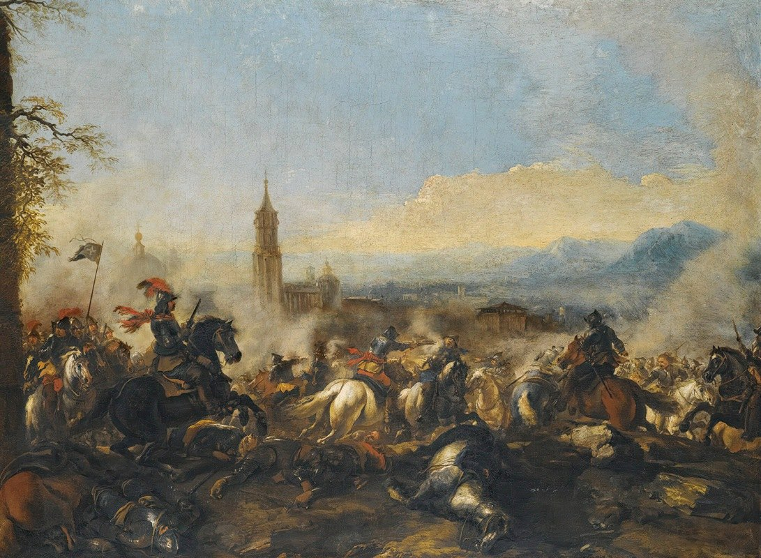 Jacques Courtois - A Cavalry Engagement, A Cathedral Beyond
