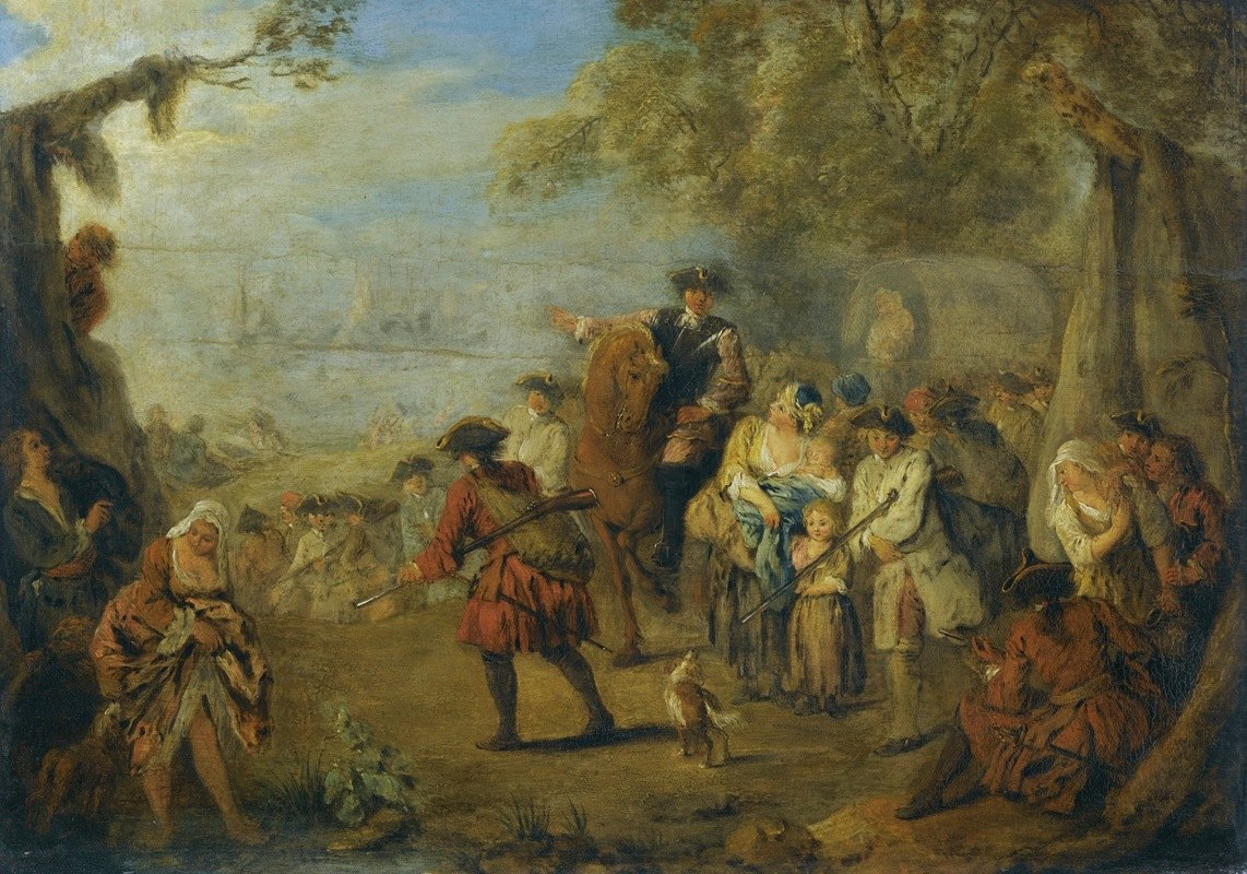 Jean-Baptiste Pater - Figures In A Military Encampment With A Horseman Directing Troops