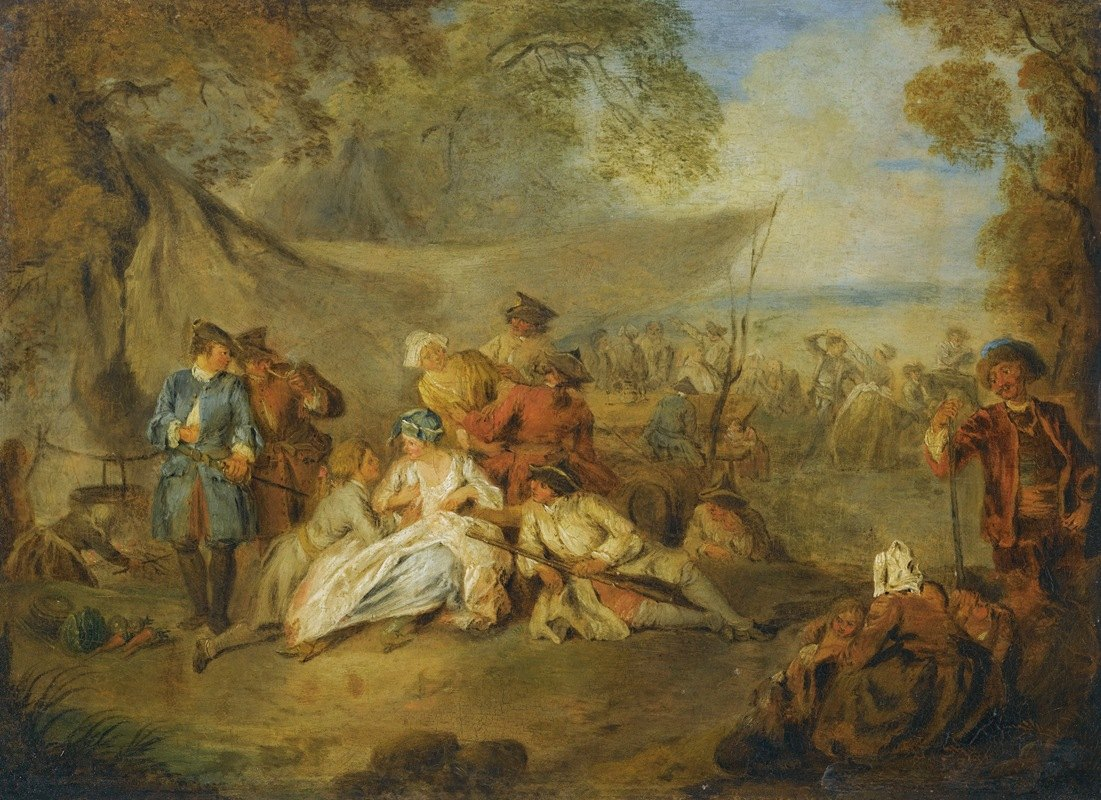 Jean-Baptiste Pater - Figures Resting In A Military Encampment