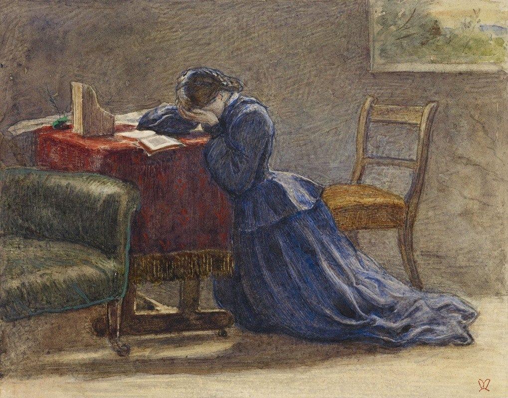 Sir John Everett Millais - A Wife – Face in Both Hands She Knelt on the Carpet