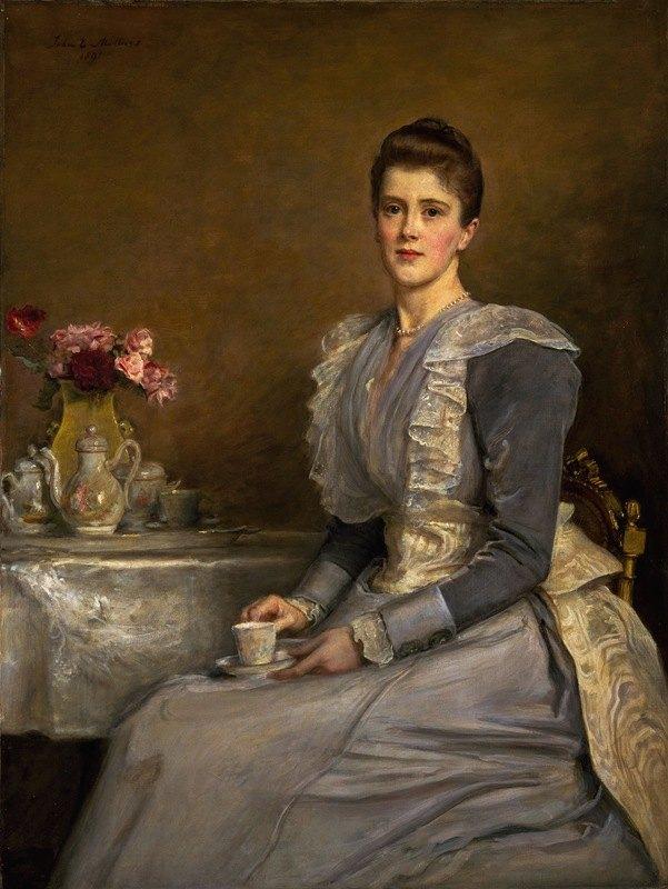 Sir John Everett Millais - Portrait of Mary Endicott (d.1957), Mrs Joseph Chamberlain