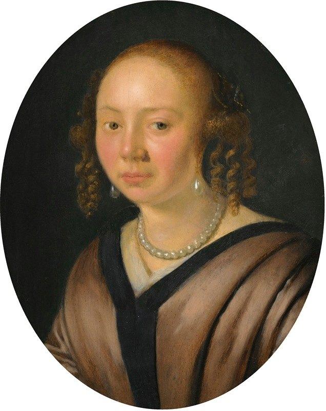 Pieter Cornelisz van Slingelandt - Portrait Of A Lady, Head And Shoulders, Wearing Pearl Earrings And A Necklace