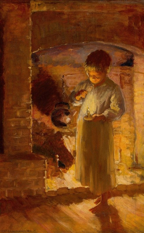Adam Emory Albright - Fireside Candlelight