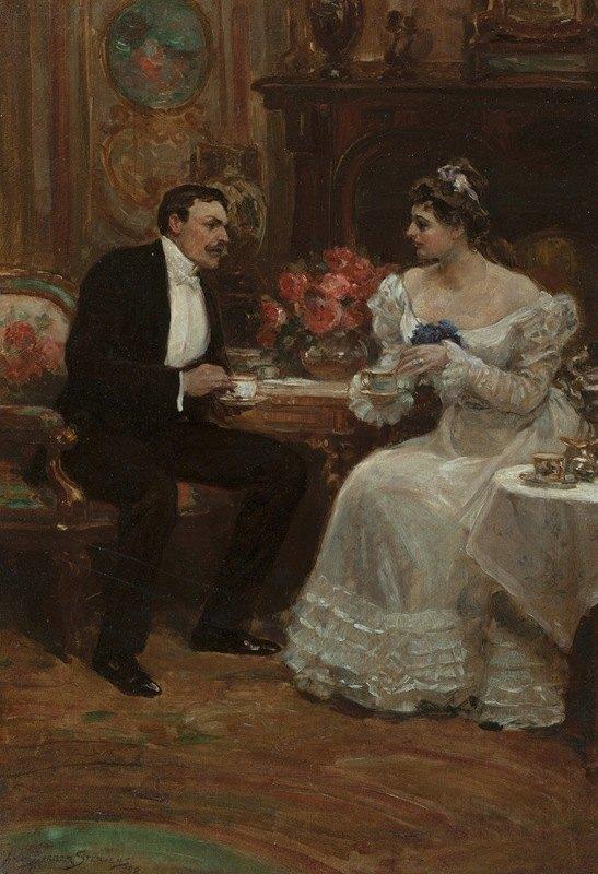 Alice Barber Stephens - Seated Couple Having Tea