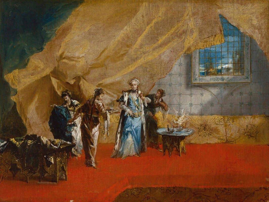 Giovanni Antonio Guardi - A Sultana taking Coffee in the Harem