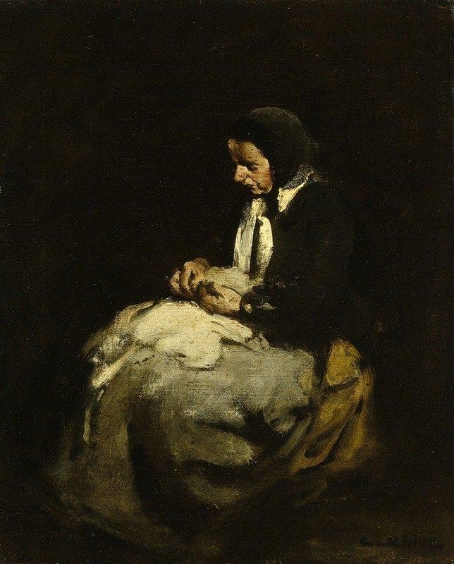 Théodule Ribot - Woman sewing