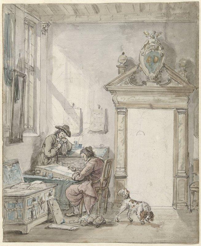 Abraham Van Strij - Interieurscène met schrijvende man aan een lessenaar