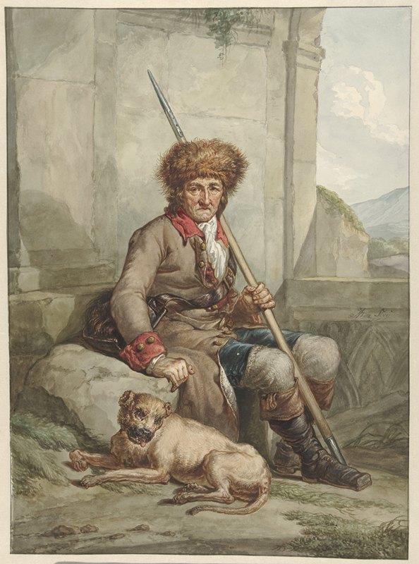 Abraham Van Strij - Zittende jager met bontmuts, speer en weitas