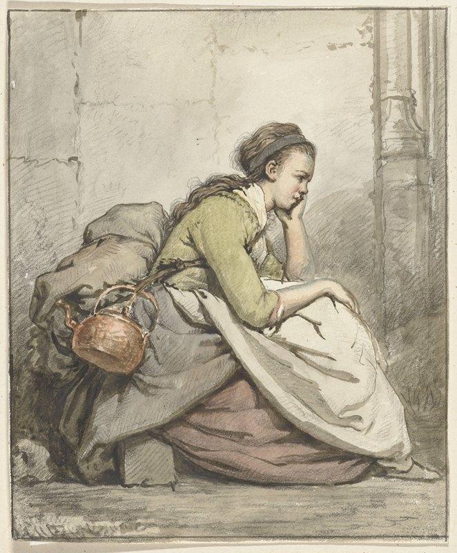 Abraham Van Strij - Zittende vrouw met een koperen ketel