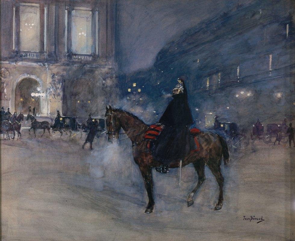 Jean Béraud - Façade de l'Opéra un soir de gala