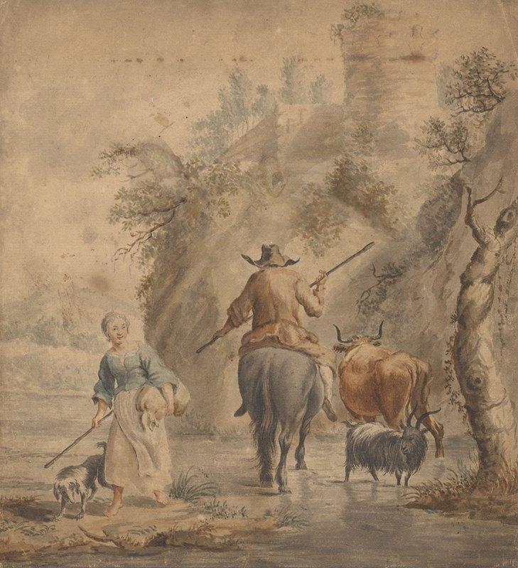Nicolaes Pietersz. Berchem - Rivierlandschap met een ruiter, vrouw en vee