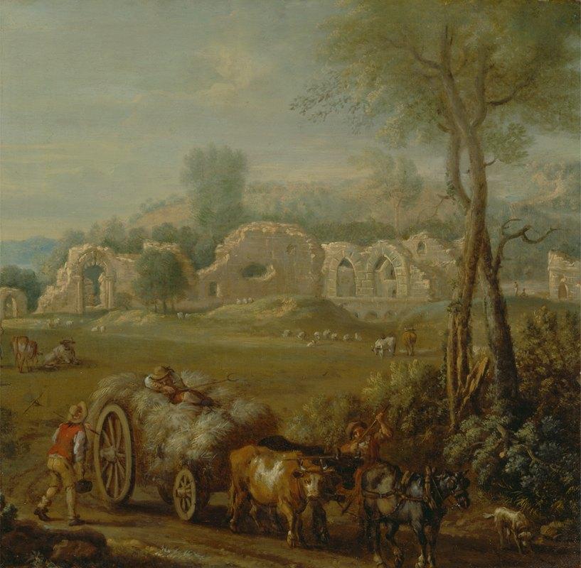 John Wootton - Haycart Passing a Ruined Abbey