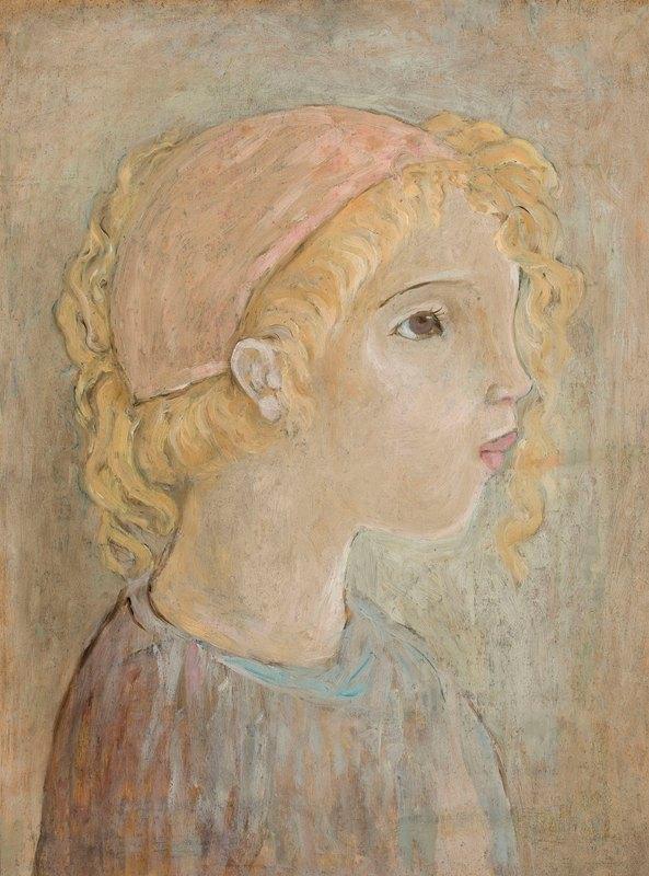 Tadeusz Makowski - Głowa dziewczynki w różowym kapturku