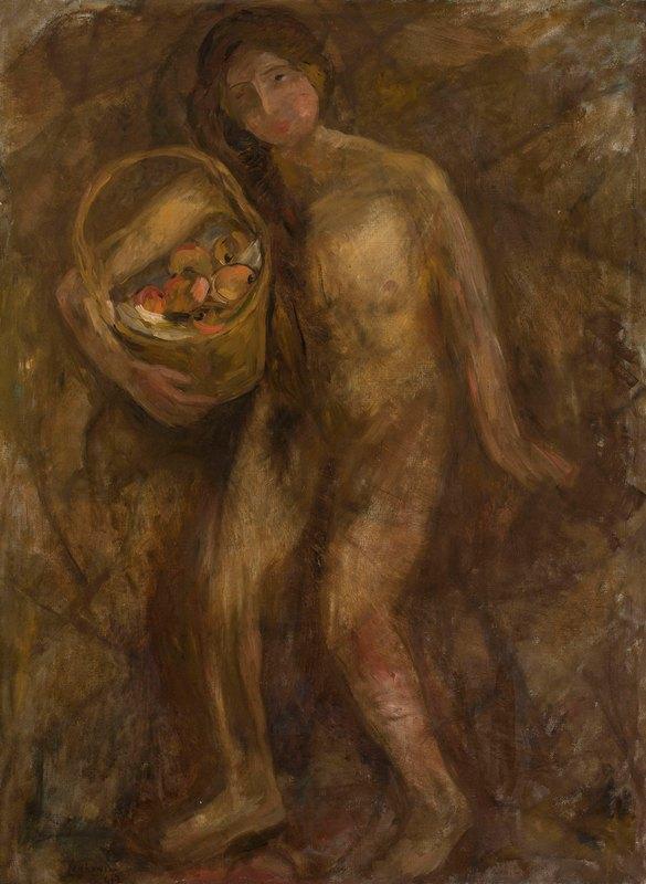Tadeusz Makowski - Nude girl with a basket of apples