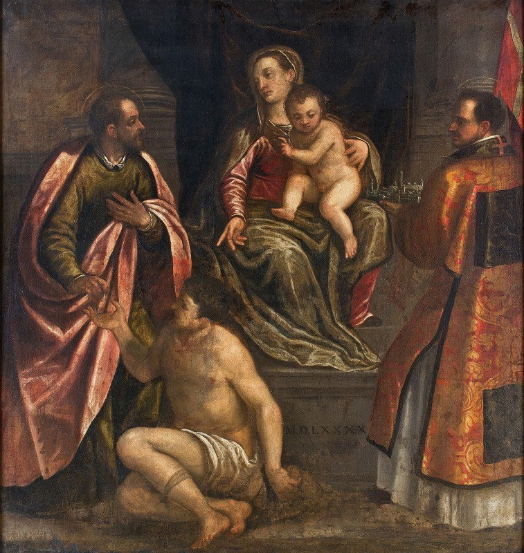 Alessandro Maganza - The Virgin and Child with St Martin and St Petronius