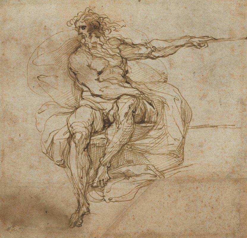 Agostino Carracci - Seated Male Nude (recto)
