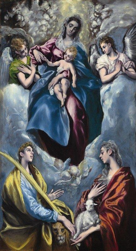 El Greco (Domenikos Theotokopoulos) - Madonna and Child with Saint Martina and Saint Agnes