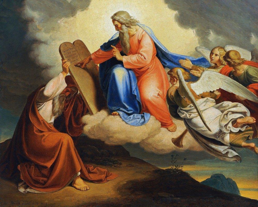 Joseph von Führich - God writes the ten commandments on two stone tablets to Moses on Mount Sinai