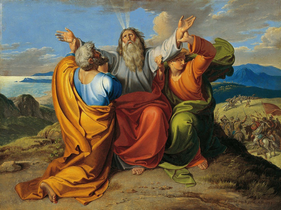 Joseph von Führich - The praying Moses with Aaron and Hur on the mountain Horeb