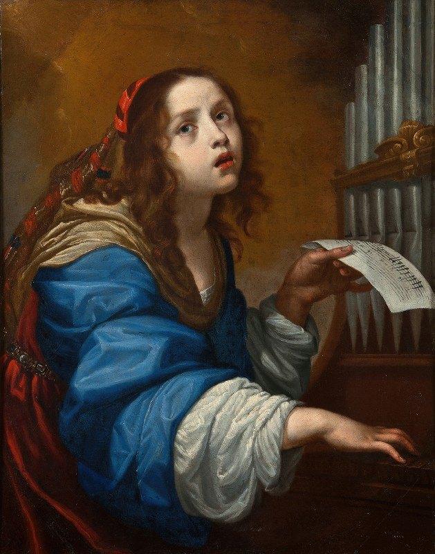 Onorio Marinari - St Cecilia Playing the Organ
