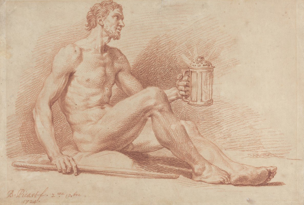 Bernard Picart - Male Nude with a Lamp (Diogenes)