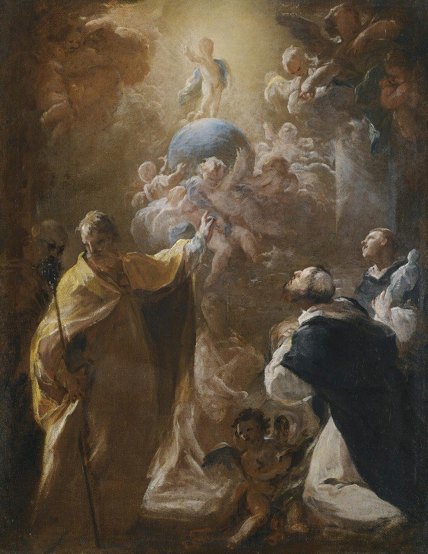Corrado Giaquinto - The Infant Christ In Glory With Saints Dominic Andnicholas
