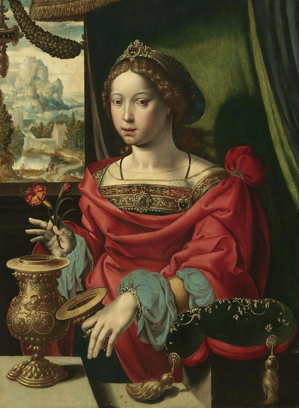 School Of Antwerp - The Magdalene Seated At A Table By A Window, Opening A Gold-Encrusted Urn